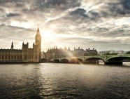 Houses of Parliament and Westminster bridge on a cloudy day