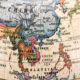 Close-up of East and Southeast Asia in the colorful world map.