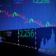 blur and defocus image of  stock market chart  background represent  up and down trend of stock market