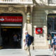 Barcelona, Spain - May 4, 2016: Santander bank branch located on Passeig de Gracia, one of the most expensive streets in Europe.