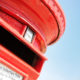 Close up on a red British letterbox.