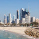 Skyline of Kuwait downtown as seen from the Shuwaikh beach. Arabia, Middle East
