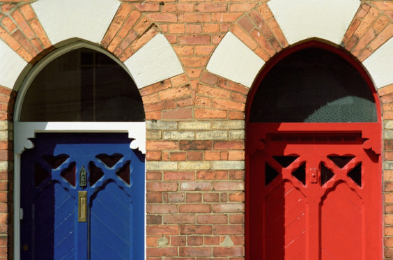 Two almost identical doors photographed in North East England